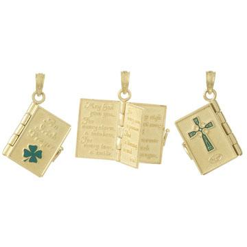 14kt Yellow Gold 1/2in Irish Prayer Book Pendant