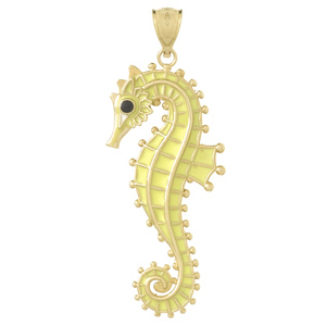14kt Yellow Gold 42mm Seahorse Pendant with Yellow Enamel