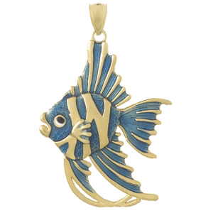 14kt Yellow Gold 41mm Blue Angelfish Pendant with Enamel