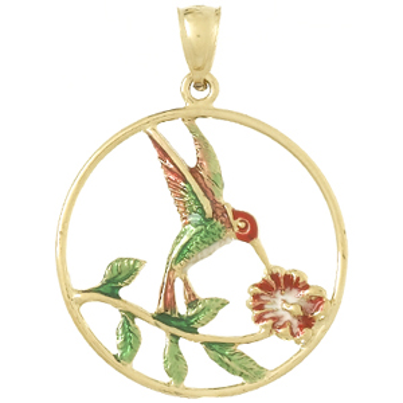 14kt Yellow Gold 1in Enamel Hummingbird Pendant