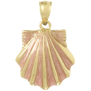 14kt Yellow Gold 25mm Pink Enamel Scallop Shell Pendant