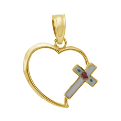 14kt Yellow Gold 1/2in Cut-out Heart Pendant with Enamel Cross