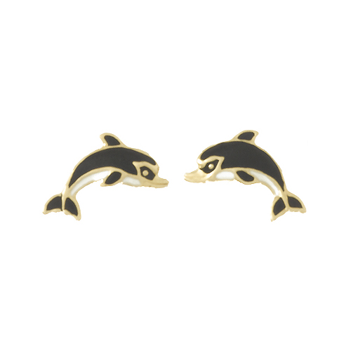 14kt Yellow Gold Small Black and White Dolphin Earrings