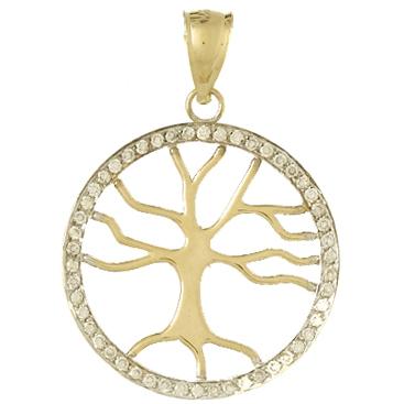 14kt Yellow Gold 1/4 ct Diamond Tree of Life Pendant