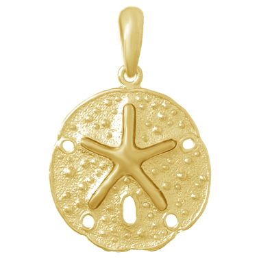 14kt Yellow Gold 3/4in Polished Sand Dollar Pendant