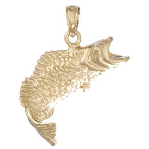 14kt Yellow Gold 3/8in Bass Fish Pendant with Curved Tail