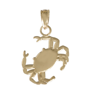 14kt Yellow Gold 5/8in 2-D Crab Pendant