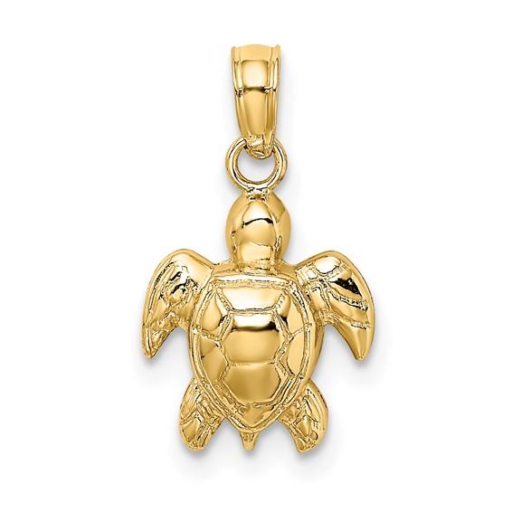 14kt Yellow Gold 1/2in 2-D Mini Sea Turtle Pendant