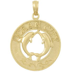 14kt Yellow Gold 25mm Ocean City Pendant with Dolphins