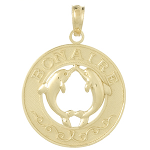 14k Yellow Gold Bonaire Pendant with Dolphins 3/4in