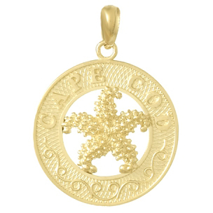 14kt Yellow Gold 3/4in Cape Cod Pendant with Starfish