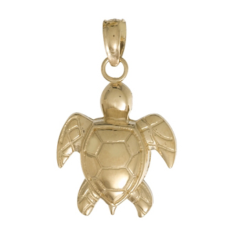 14kt Yellow Gold 5/8in 2-D Sea Turtle Pendant