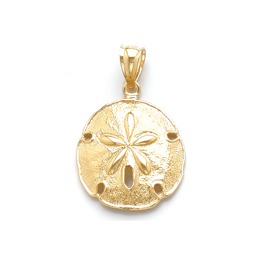 14kt Yellow Gold 3/4in Beveled Sand Dollar Pendant