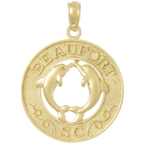 14kt Yellow Gold 25mm Beaufort, SC Pendant with Dolphins
