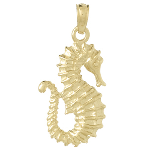 14kt Yellow Gold 7/8in 2-D Seahorse Pendant