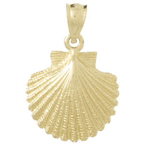 14kt Yellow Gold 3/4in Scallop Shell Pendant