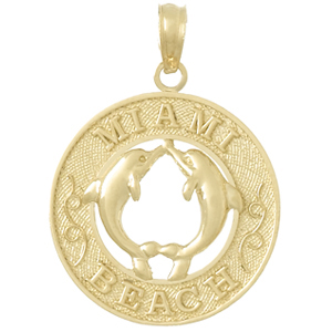 14kt Yellow Gold 3/4in Miami Beach Pendant with Dolphins