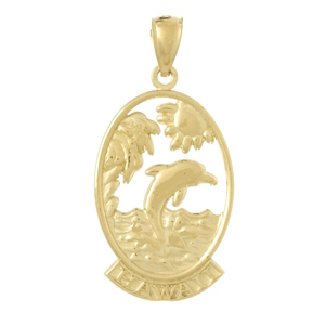 14kt Yellow Gold 32mm Hawaii Pendant with Dolphins
