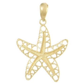 14kt Yellow Gold 3/4in Cut-Out Starfish Pendant