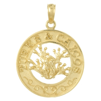 14kt Yellow Gold 25mm Turks and Caicos Pendant with Frog