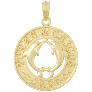14kt Yellow Gold 25mm Turks and Caicos Pendant with Dolphin