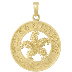 14k Yellow Gold Turks and Caicos Pendant with Starfish 3/4in