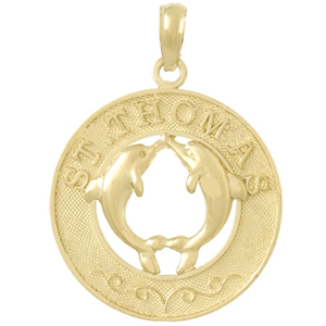 14kt Yellow Gold 25mm Saint Thomas Pendant with Dolphins