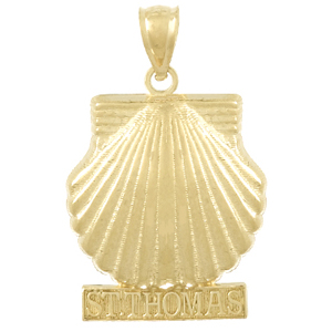14kt Yellow Gold 29mm Saint Thomas Shell Pendant