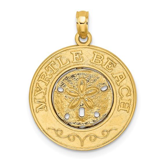 14k Yellow Gold Myrtle Beach Sand Dollar Pendant