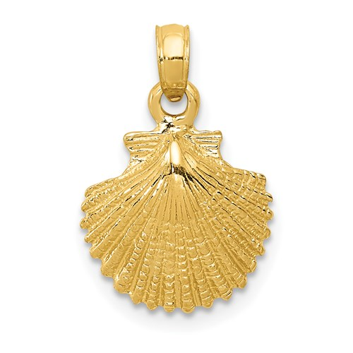 14k Yellow Gold Textured Scallop Shell Pendant 1/2in