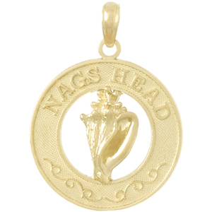 14kt Yellow Gold Nags Head Pendant with Conch Shell 3/4in