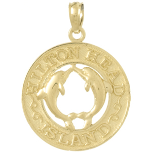 14k Yellow Gold Hilton Head Island Pendant with Dolphins 3/4in