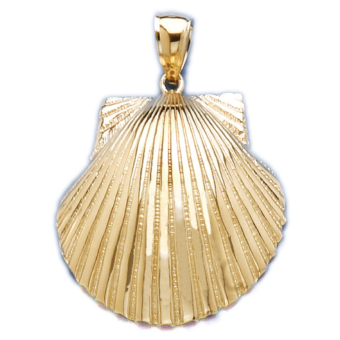 14kt Yellow Gold 1 1/8in Scallop Shell Pendant