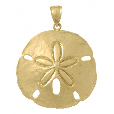 14kt Yellow Gold 1 3/8in Large Sand Dollar Pendant