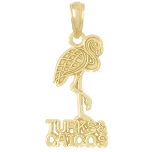 14kt Yellow Gold 22mm Turks and Caicos Flamingo Pendant
