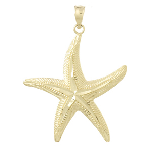 14kt Yellow Gold 1in Cut Center Starfish Pendant