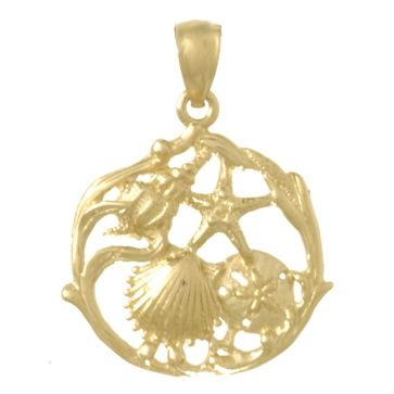 14kt Yellow Gold 20mm Shell Cluster Pendant