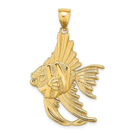14kt Yellow Gold 1 1/2in Textured Angelfish Pendant