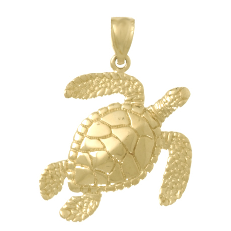 14kt Yellow Gold 35mm Sea Turtle Pendant
