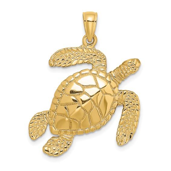 14kt Yellow Gold 35mm Sea Turtle Pendant