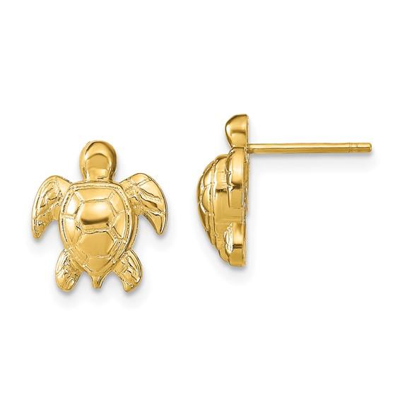 14kt Yellow Gold 1/2in Sea Turtle Stud Earrings