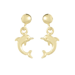 14kt Yellow Gold 17mm Mini Jumping Dolphin Earrings