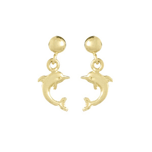 14kt Yellow Gold 5/8in Mini Jumping Dolphin Earrings