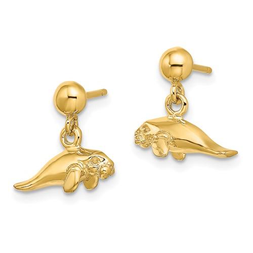 14kt Yellow Gold 14mm Manatee Dangle Earrings