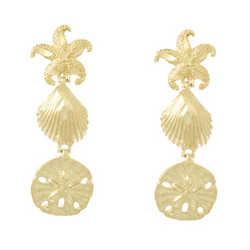 14kt Yellow Gold 1 1/2in Sea Life Dangle Earrings