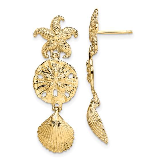 14kt Yellow Gold 1 1/2in Sea Life Dangle Earrings