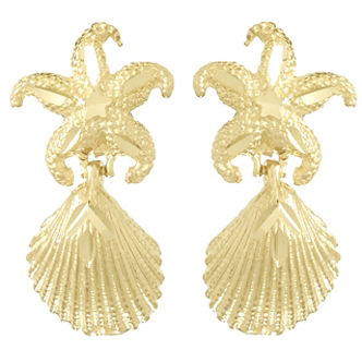 14kt Yellow Gold 25mm Starfish and Scallop Dangle Earrings