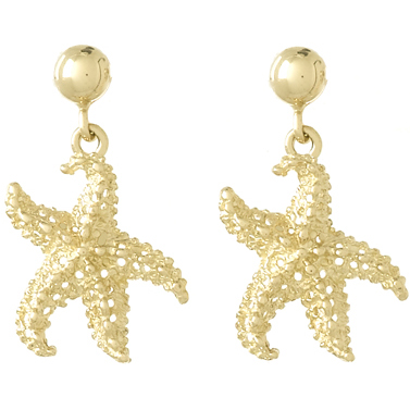 14kt Yellow Gold 20mm Starfish Dangle Earrings