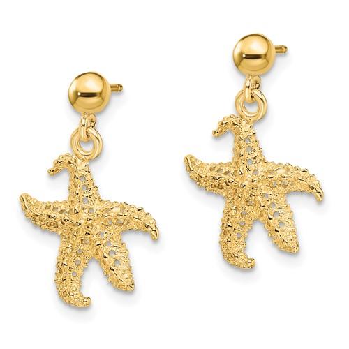 14kt Yellow Gold 20mm Starfish Dangle Earrings