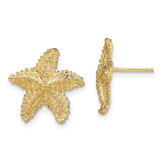 14kt Yellow Gold 15mm Beaded Starfish Earrings